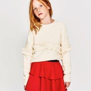 Zara girls soft cream ruffled sweater